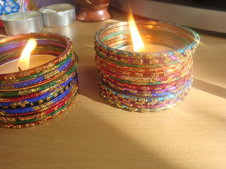 glass bangle candle holder, craft with glass bangles