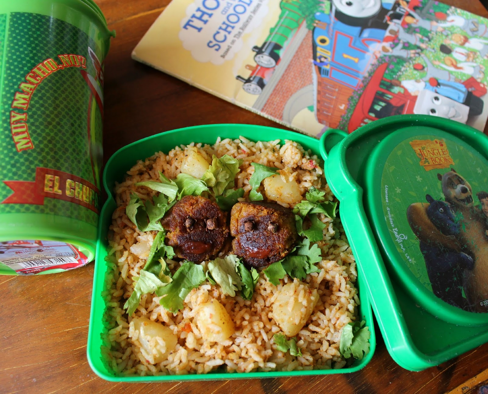potato biryani and vegetable kofta, kids lunch,lunch box ideas