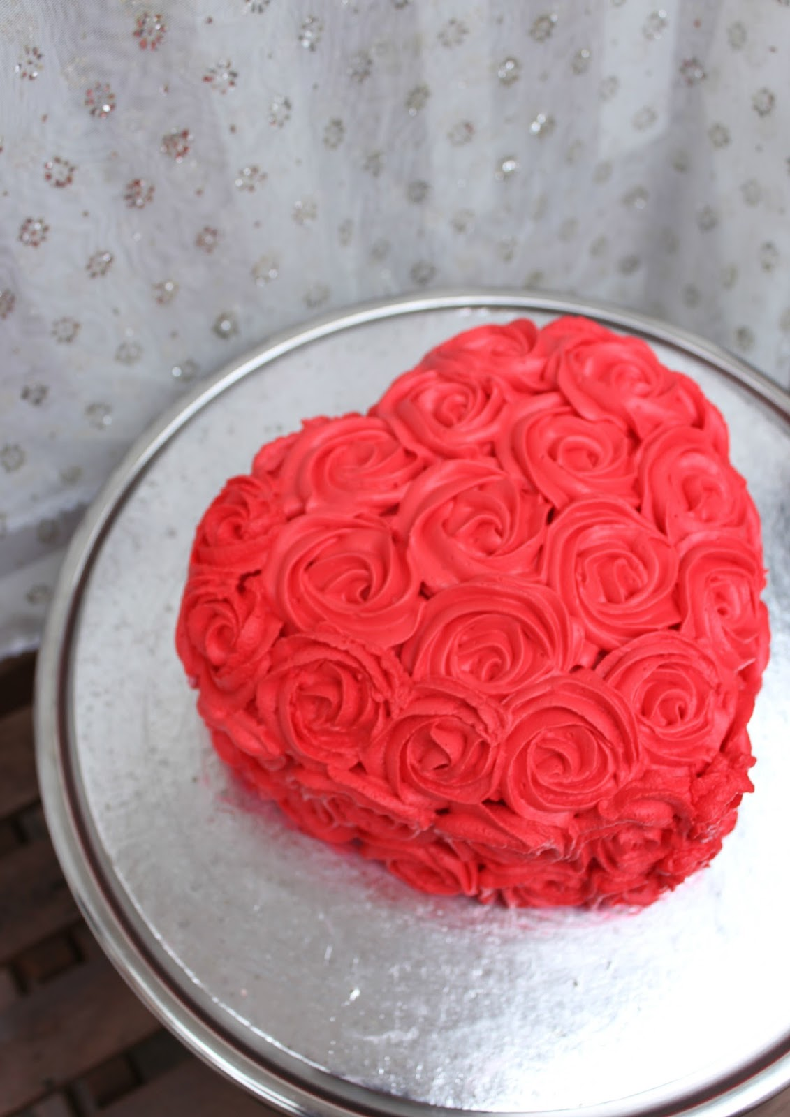 red rosette cake, whipped cream rosette cake
