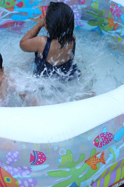 inflatable swimming pool, summer