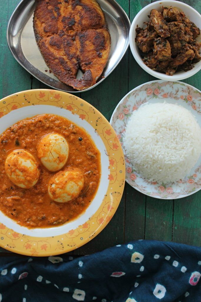 Egg curry meal